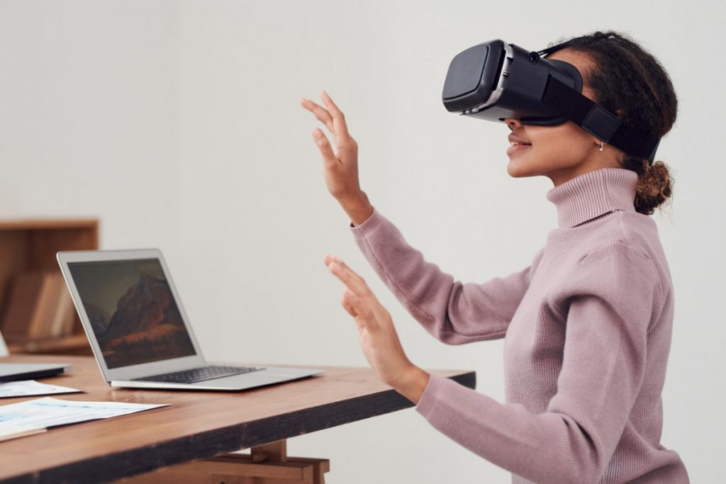 Sagal Group person-using-virtual-reality-goggles-3183164-1024x683 WFH (Work from Home) The Good, The Bad and The Ugly What's Happening