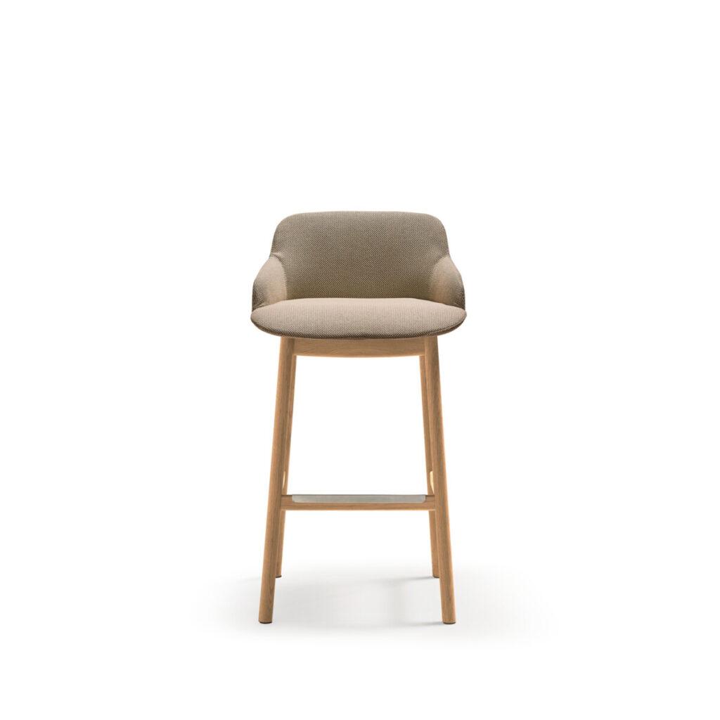 deep soft upholstered bar stool on wooden legs