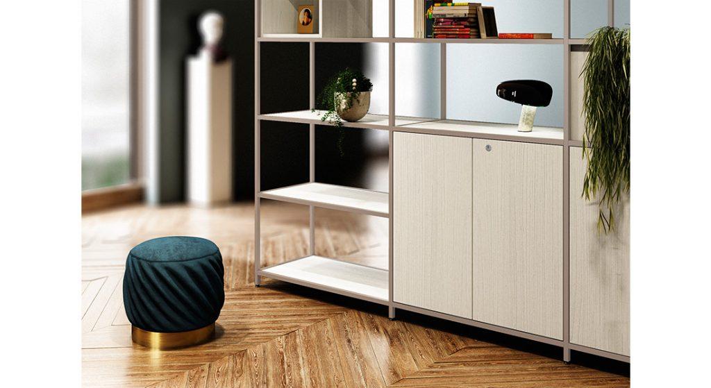 Home Office Shelving Desk with hidden pullout laptop shelf