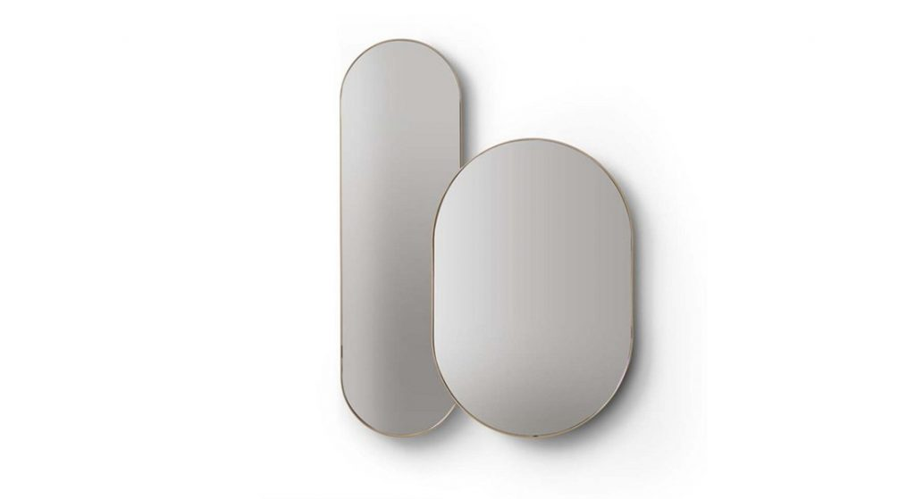 oval mirrors with gold edge band