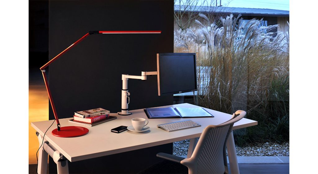Monitor arm and lamp